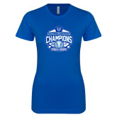 Next Level Ladies SoftStyle Junior Fitted Royal Tee-2017 Centennial Conference Champions Womens Lacrosse