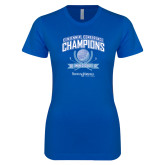 Next Level Ladies SoftStyle Junior Fitted Royal Tee-2017 Centennial Conference Champions Mens Golf