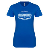 Next Level Ladies SoftStyle Junior Fitted Royal Tee-2017 Centennial Conference Champions Softball
