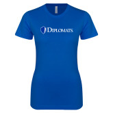 Next Level Ladies SoftStyle Junior Fitted Royal Tee-Diplomats Flat Logo