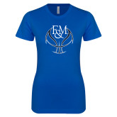 Next Level Ladies SoftStyle Junior Fitted Royal Tee-Basketball Logo On Ball