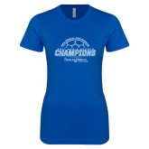 Next Level Ladies SoftStyle Junior Fitted Royal Tee-2017 Mens Soccer Champions