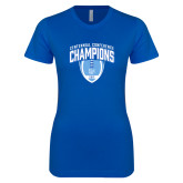Next Level Ladies SoftStyle Junior Fitted Royal Tee-2017 Football Champions Stacked w/ Football Vertical
