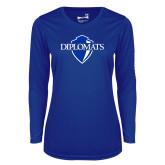 Ladies Syntrel Performance Royal Longsleeve Shirt-Diplomats Official Logo