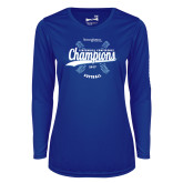 Ladies Syntrel Performance Royal Longsleeve Shirt-2017 Centennial Conference Champions Softball