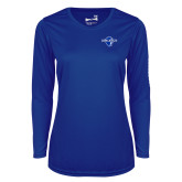 Ladies Syntrel Performance Royal Longsleeve Shirt-Diplomats Official Logo