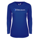 Ladies Syntrel Performance Royal Longsleeve Shirt-Diplomats Flat Logo