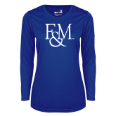 Ladies Syntrel Performance Royal Longsleeve Shirt-F&M