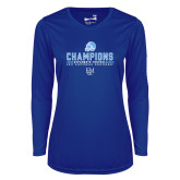 Ladies Syntrel Performance Royal Longsleeve Shirt-2017 Football Champions