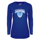 Ladies Syntrel Performance Royal Longsleeve Shirt-2017 Football Champions Stacked w/ Football Vertical