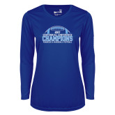Ladies Syntrel Performance Royal Longsleeve Shirt-2017 Football Champions Stacked w/ Football