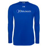 Under Armour Royal Long Sleeve Tech Tee-Diplomats Flat Logo