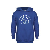 Youth Royal Fleece Hoodie-Basketball Logo In Ball