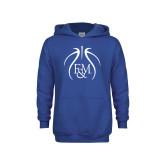 Youth Royal Fleece Hoodie-Basketball Logo In Ball