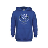 Youth Royal Fleece Hoodie-Basketball Logo On Ball