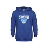 Youth Royal Fleece Hoodie-2017 Football Champions Stacked w/ Football Vertical