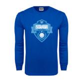 Royal Long Sleeve T Shirt-Shield Volleyball Champions