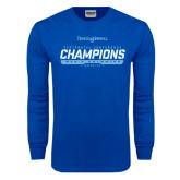 Royal Long Sleeve T Shirt-2016-17 Centennial Conference Champions Mens Swimming