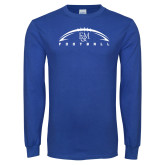 Royal Long Sleeve T Shirt-Flat Football Design