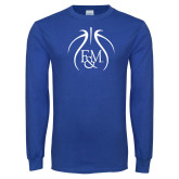 Royal Long Sleeve T Shirt-Basketball Logo In Ball