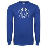 Royal Long Sleeve T Shirt-Basketball Logo In Ball