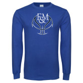 Royal Long Sleeve T Shirt-Basketball Logo On Ball