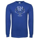 Royal Long Sleeve T Shirt-Basketball Logo On Ball