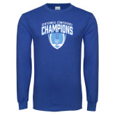 Royal Long Sleeve T Shirt-2017 Football Champions Stacked w/ Football Vertical