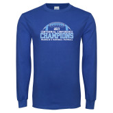 Royal Long Sleeve T Shirt-2017 Football Champions Stacked w/ Football