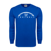 Royal Long Sleeve T Shirt-Flat Football Design