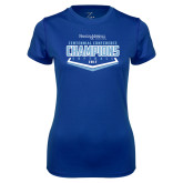 Ladies Syntrel Performance Royal Tee-2017 Centennial Conference Champions Softball