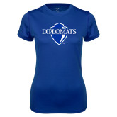 Ladies Syntrel Performance Royal Tee-Diplomats Official Logo