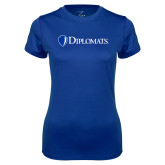 Ladies Syntrel Performance Royal Tee-Diplomats Flat Logo