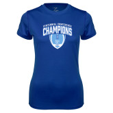 Ladies Syntrel Performance Royal Tee-2017 Football Champions Stacked w/ Football Vertical