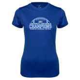 Ladies Syntrel Performance Royal Tee-2017 Football Champions Stacked w/ Football