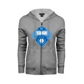 ENZA Ladies Grey Fleece Full Zip Hoodie-Shield Volleyball Champions
