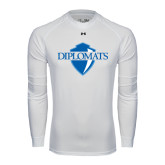 Under Armour White Long Sleeve Tech Tee-Diplomats Official Logo