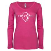 ENZA Ladies Hot Pink Long Sleeve V Neck Tee-Diplomats Official Logo