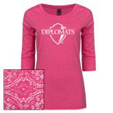 Ladies Dark Fuchsia Heather Lace 3/4 Sleeve Tee-Diplomats Official Logo