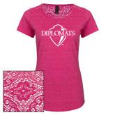 Ladies Dark Fuchsia Heather Lace Tee-Diplomats Official Logo