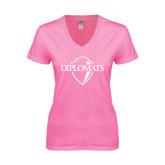 Next Level Ladies Junior Fit Deep V Pink Tee-Diplomats Official Logo