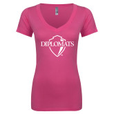 Next Level Ladies Junior Fit Deep V Pink Tee-Diplomats Official Logo