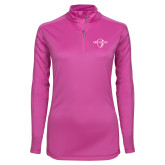 Ladies Syntrel Interlock Raspberry 1/4 Zip-Diplomats Official Logo