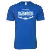 Next Level SoftStyle Royal T Shirt-2017 Centennial Conference Champions Softball