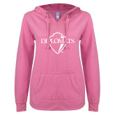 ENZA Ladies Hot Pink V Notch Raw Edge Fleece Hoodie-Diplomats Official Logo
