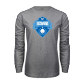 Grey Long Sleeve T Shirt-Shield Volleyball Champions