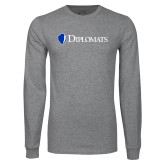 Grey Long Sleeve T Shirt-Diplomats Flat Logo