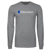 Grey Long Sleeve T Shirt-Diplomats Flat Logo