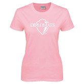 Ladies Pink T-Shirt-Diplomats Official Logo