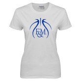 Ladies White T Shirt-Basketball Logo In Ball